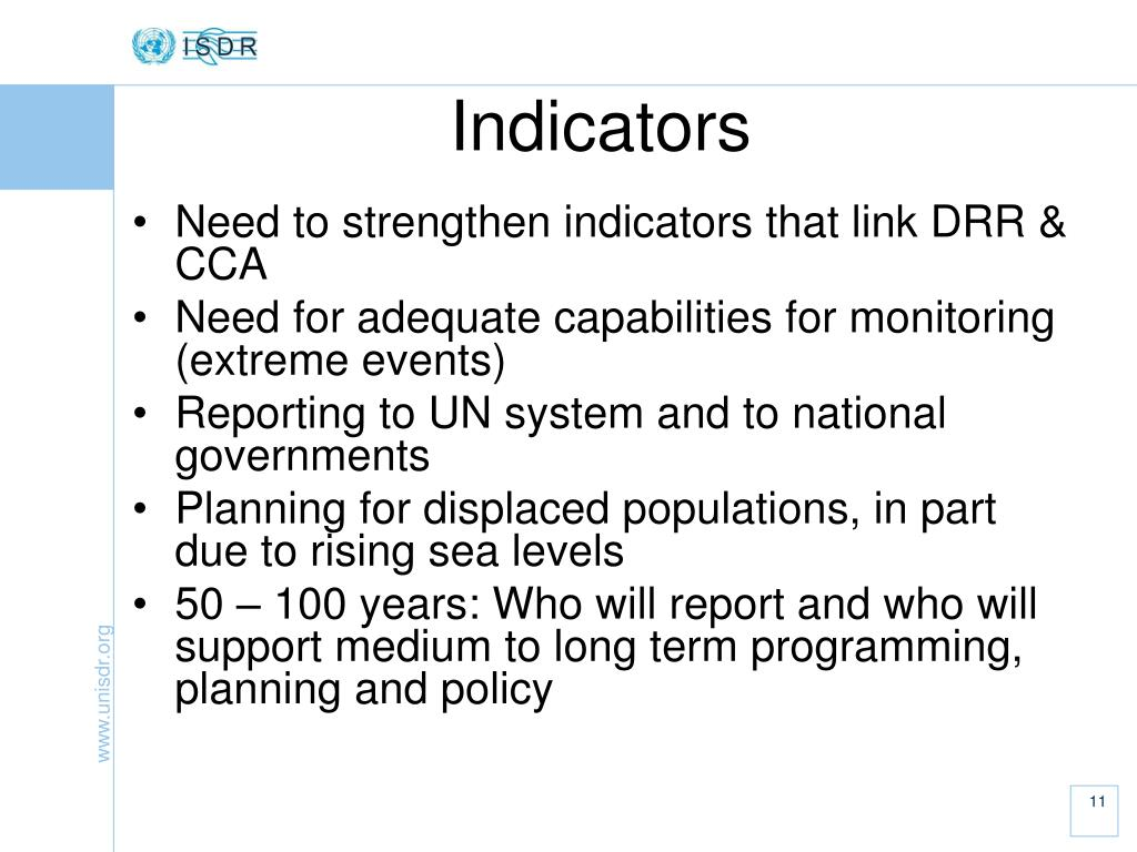 Need to strengthen indicators that link DRR & CCA