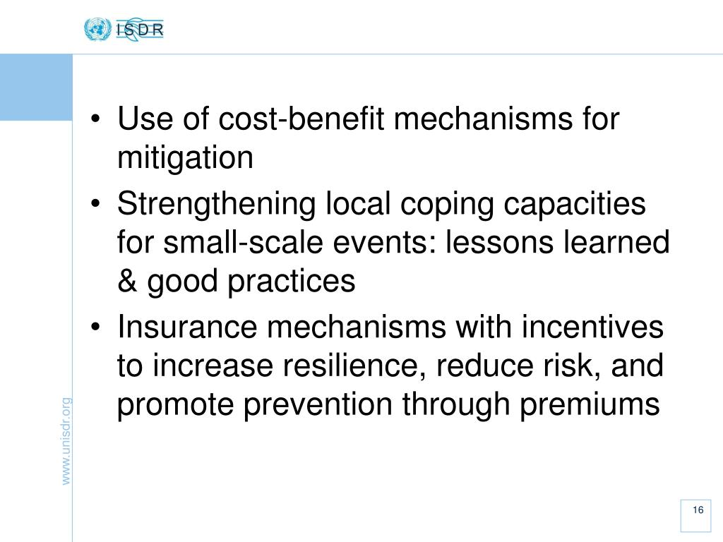 Use of cost-benefit mechanisms for mitigation