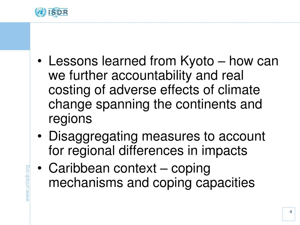 Lessons learned from Kyoto – how can we further accountability and real costing of adverse effects of climate change spanning the continents and regions