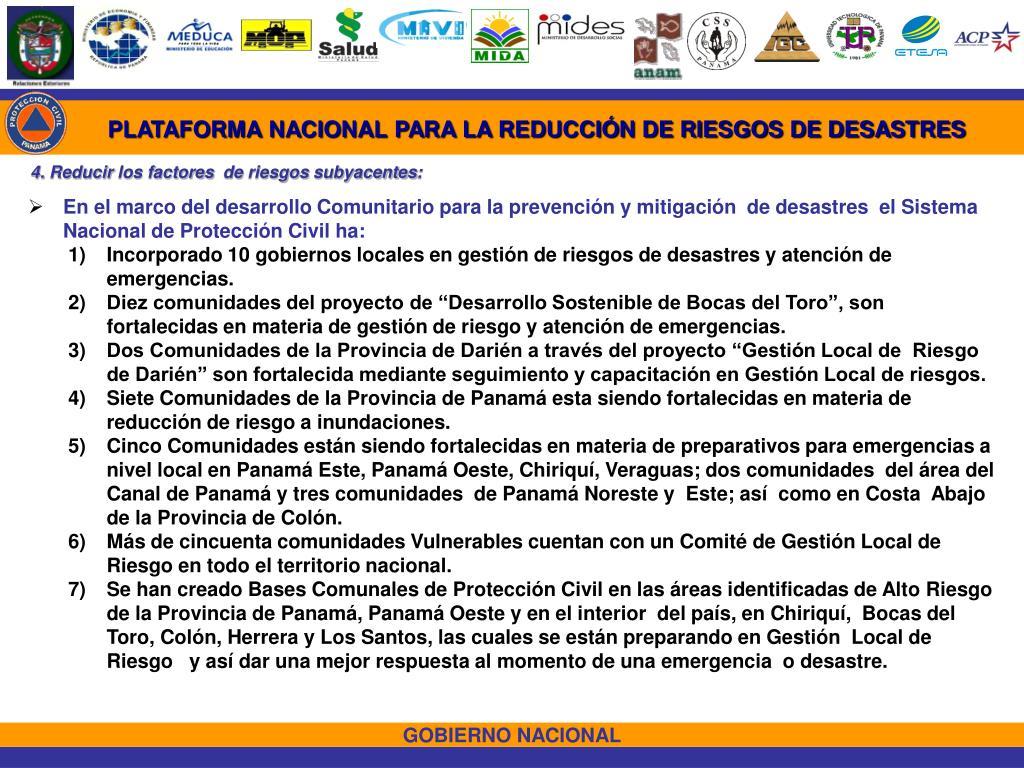 PLATAFORMA NACIONAL PARA LA REDUCCIÓN DE RIESGOS DE DESASTRES