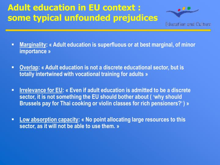 Adult education in EU context :