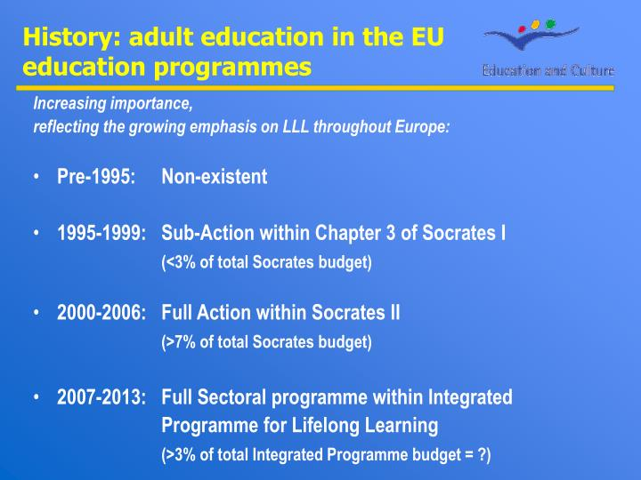 History: adult education in the EU