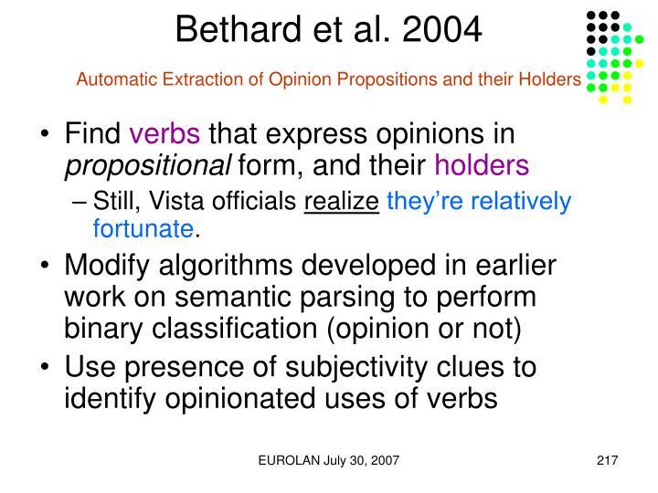 Bethard et al. 2004