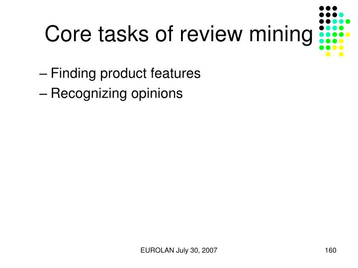 Core tasks of review mining