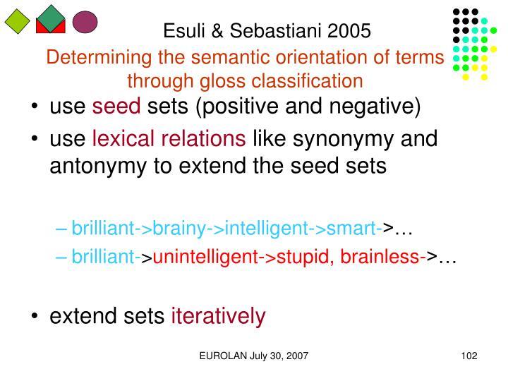 Esuli & Sebastiani 2005