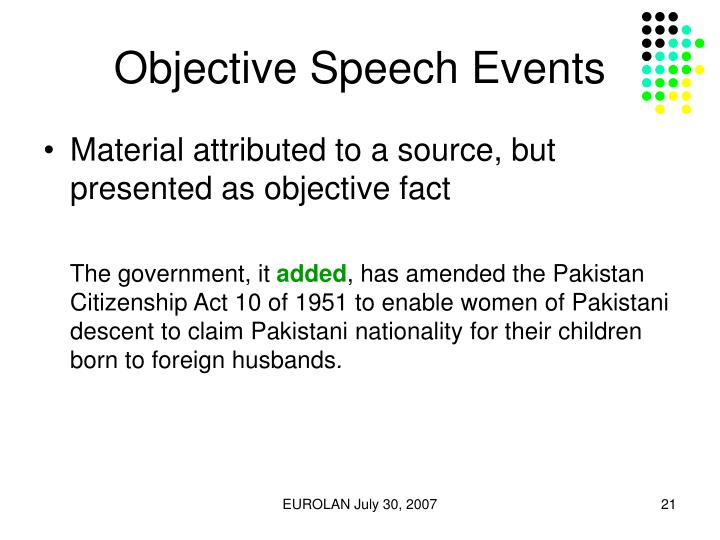 Objective Speech Events