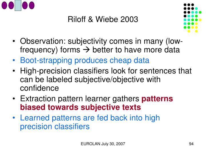 Riloff & Wiebe 2003