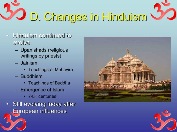 D. Changes in Hinduism