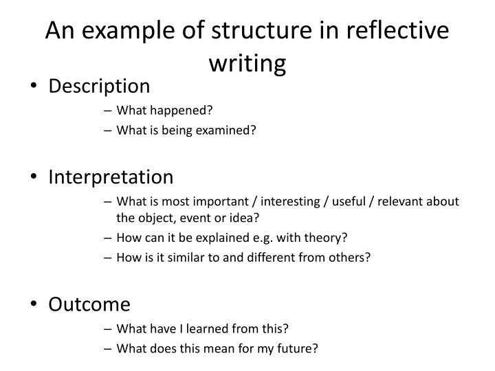 An example of structure in reflective writing