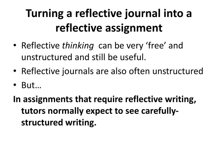 Turning a reflective journal into a reflective assignment