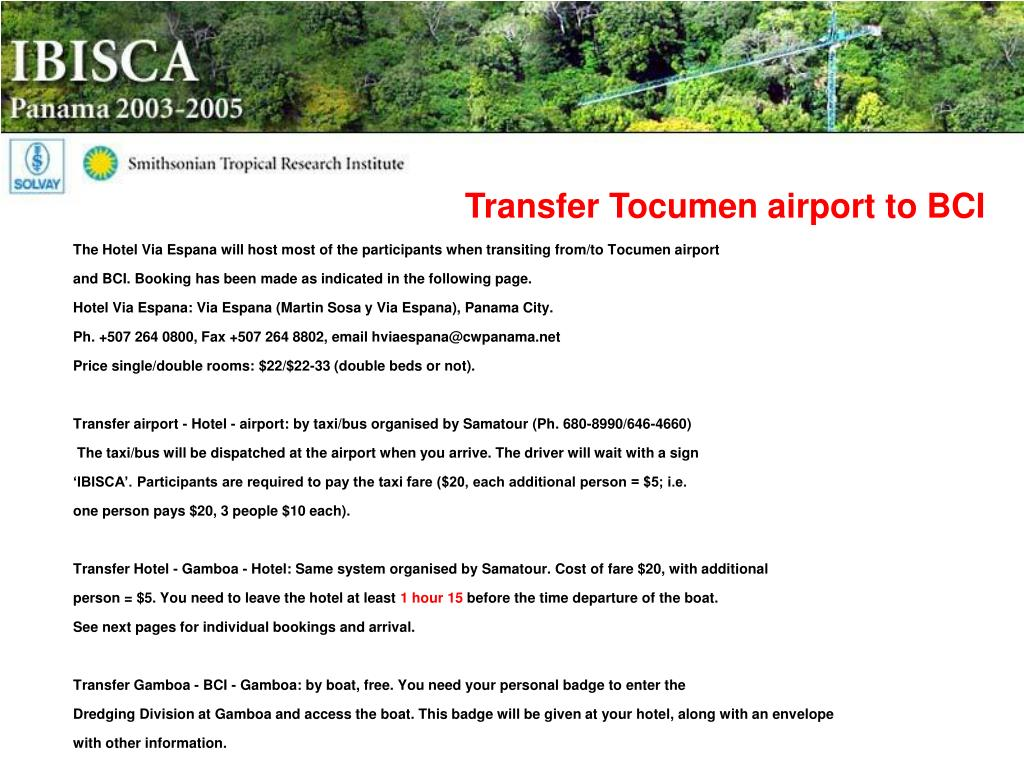 Transfer Tocumen airport to BCI