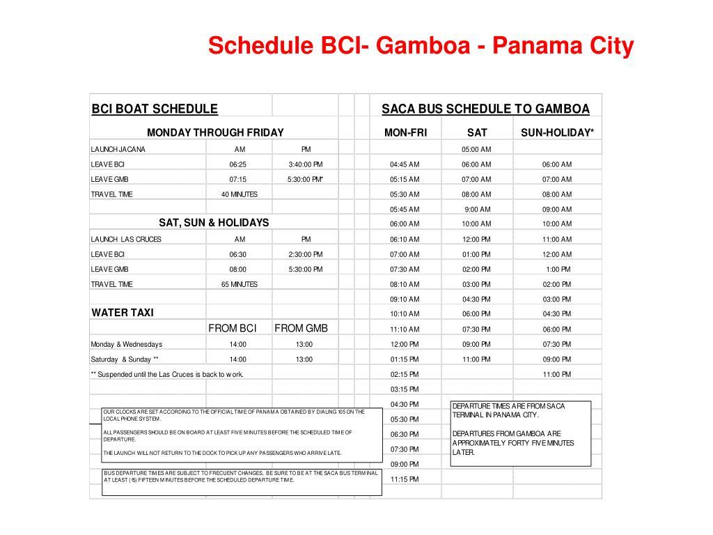 Schedule BCI- Gamboa - Panama City