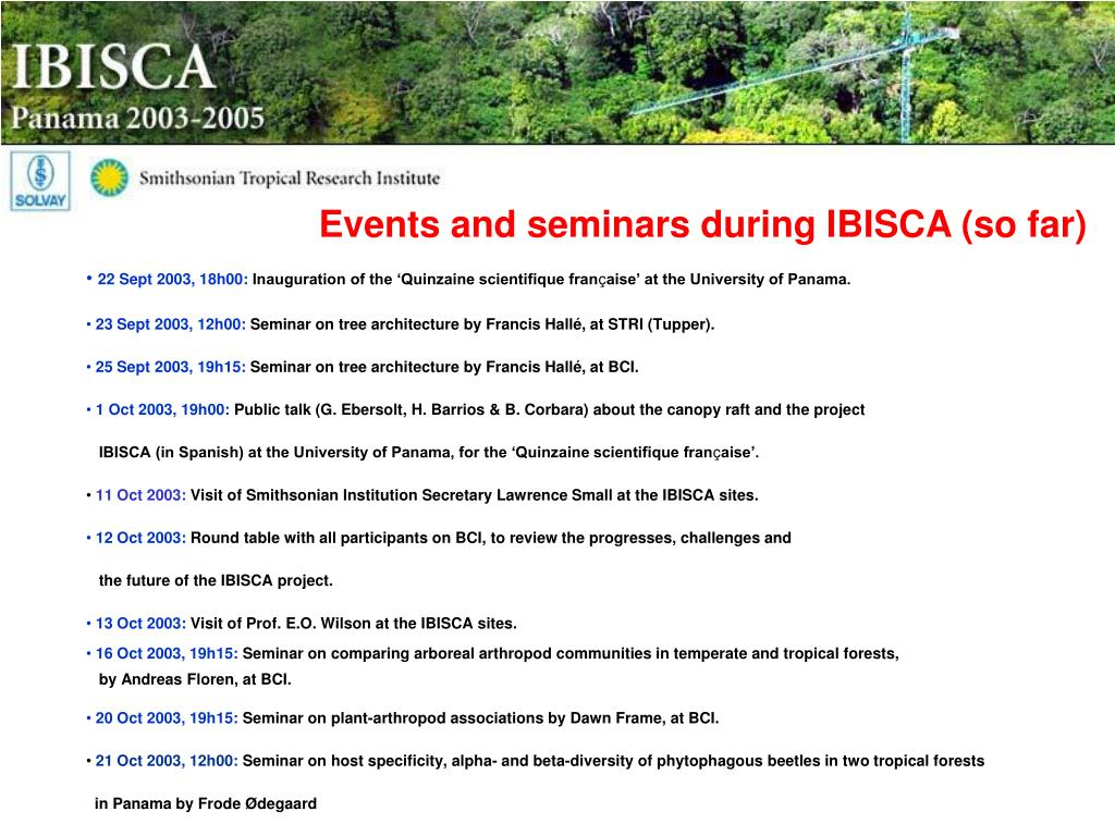 Events and seminars during IBISCA (so far)