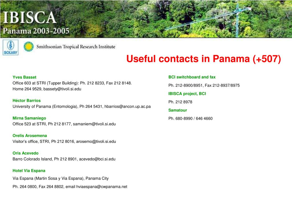 Useful contacts in Panama (+507)