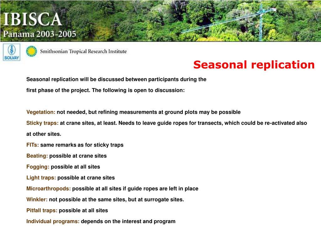 Seasonal replication