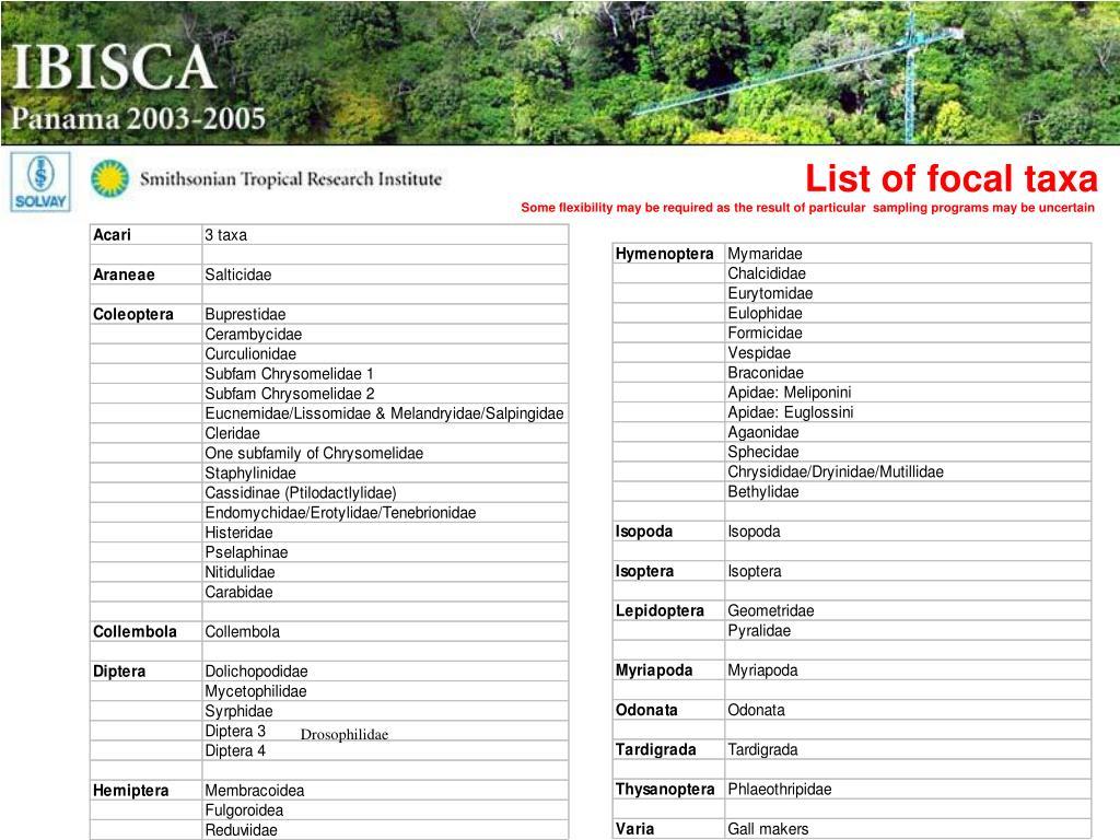 List of focal taxa