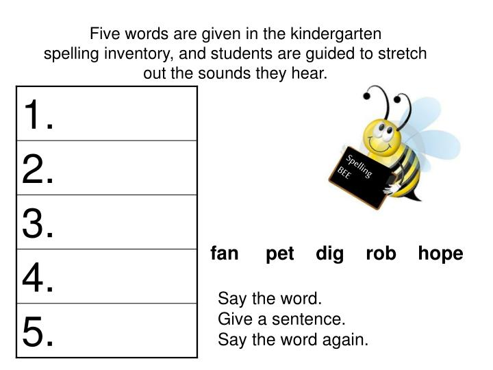Five words are given in the kindergarten
