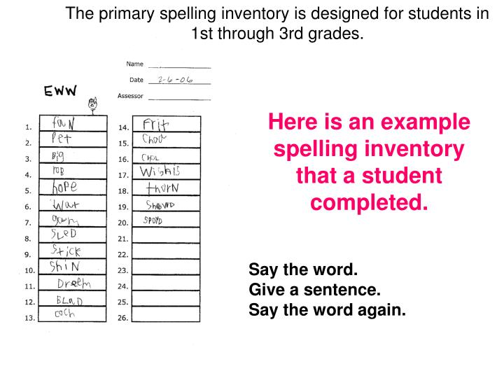 The primary spelling inventory is designed for students in
