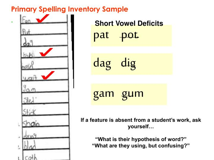 Primary Spelling Inventory Sample