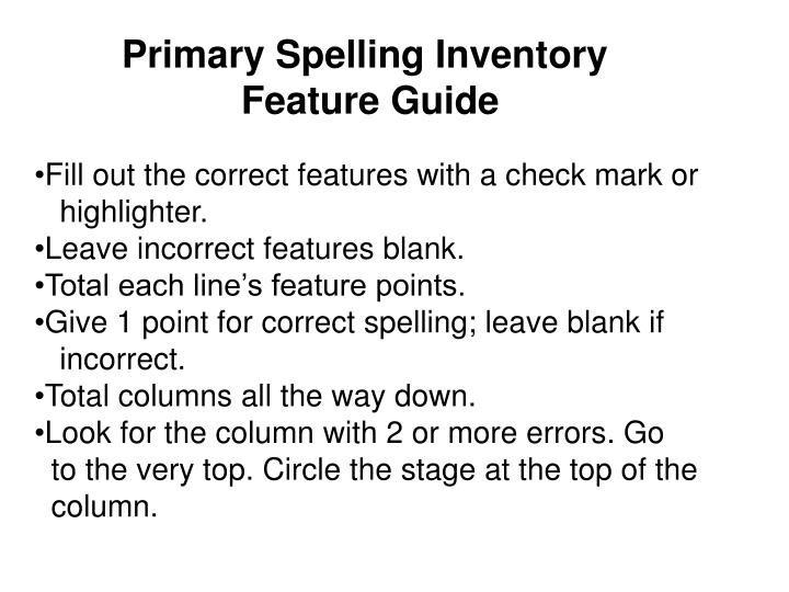 Primary Spelling Inventory