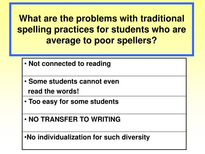 What are the problems with traditional spelling practices for students who are average to poor spellers?