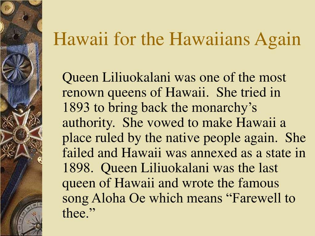 Hawaii for the Hawaiians Again