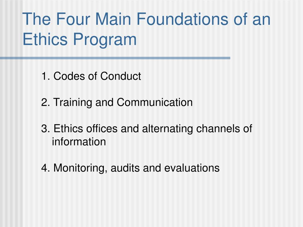 The Four Main Foundations of an Ethics Program
