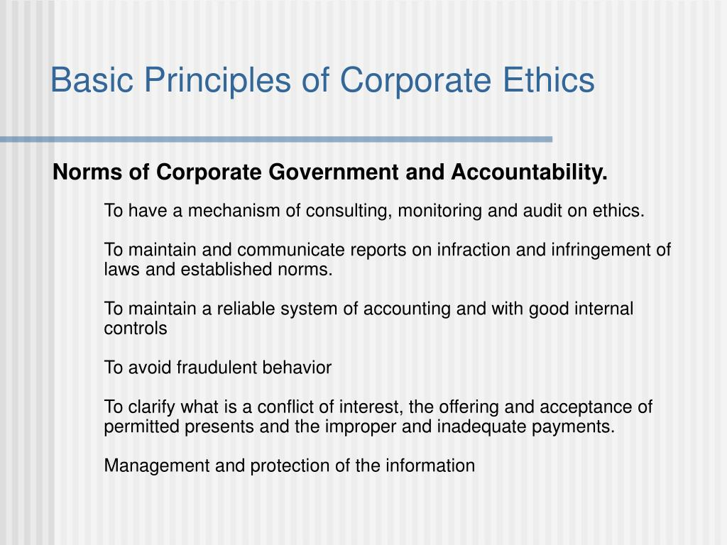 Basic Principles of Corporate Ethics
