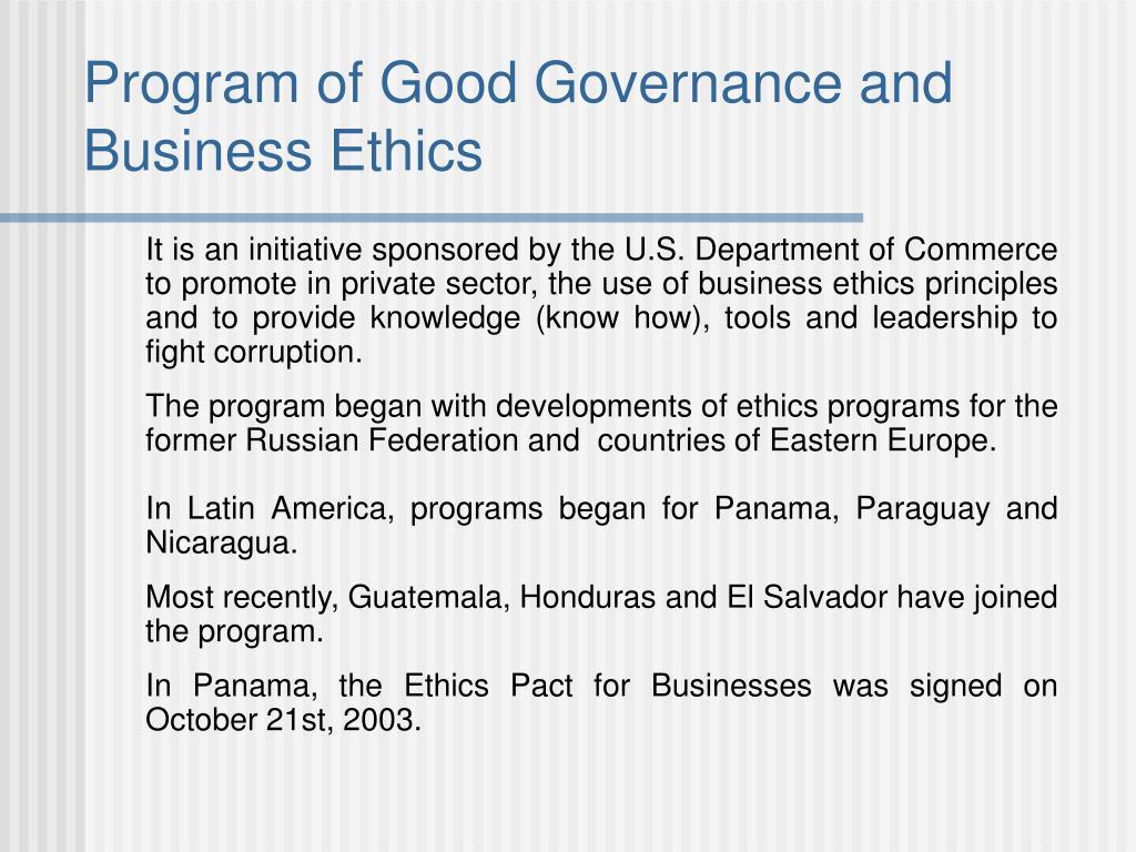 Program of Good Governance and Business Ethics