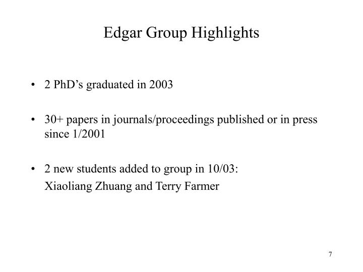 Edgar Group Highlights