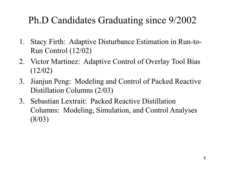 Ph.D Candidates Graduating since 9/2002