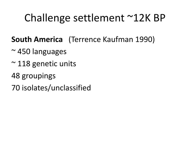 Challenge settlement ~12K BP