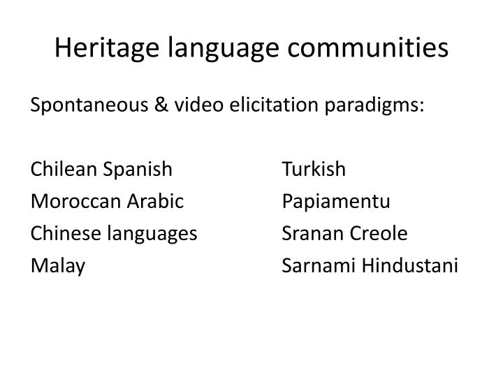 Heritage language communities