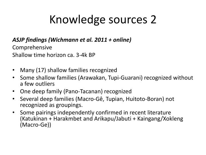 Knowledge sources 2