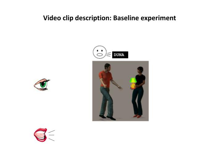 Video clip description: Baseline experiment