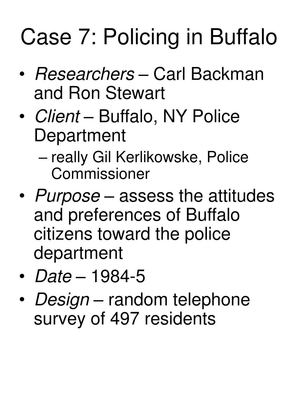 Case 7: Policing in Buffalo