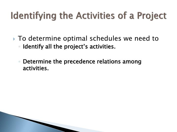 Identifying the Activities of a Project
