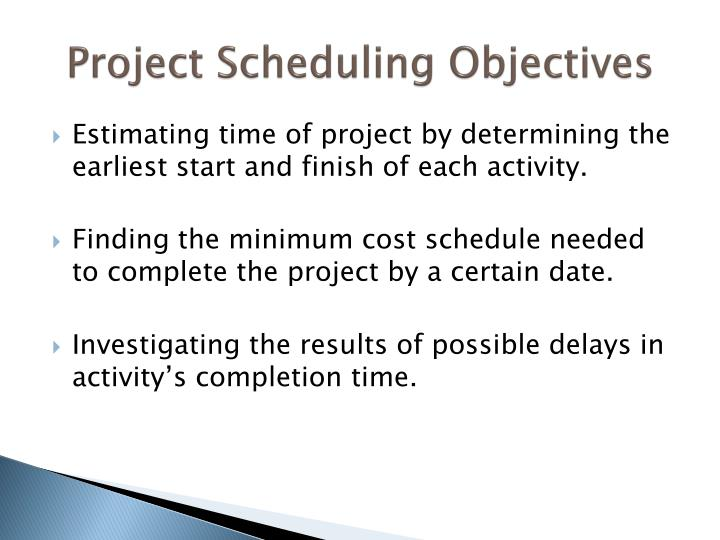Project scheduling objectives