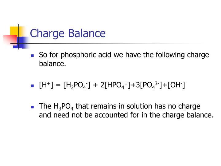 Charge Balance