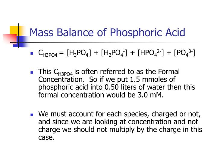Mass Balance of Phosphoric Acid