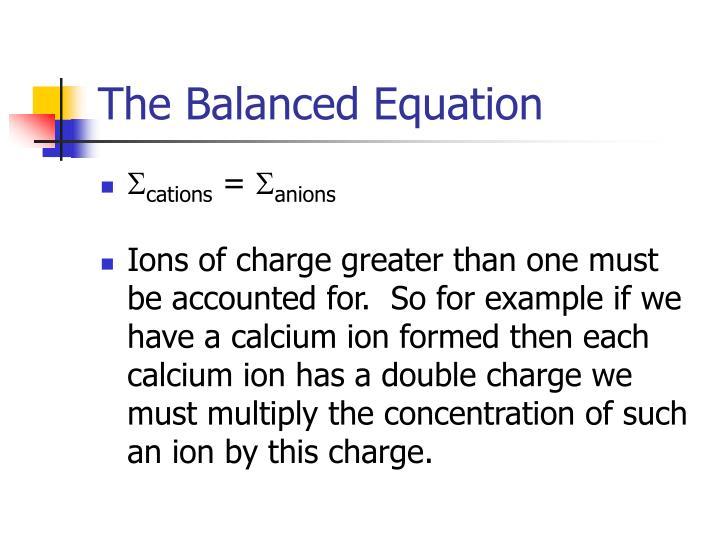 The Balanced Equation