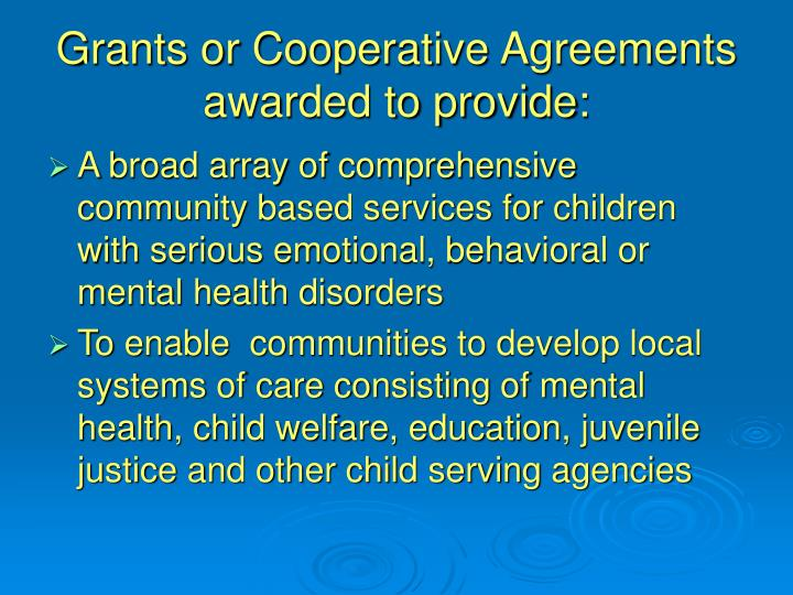 Grants or Cooperative Agreements awarded to provide: