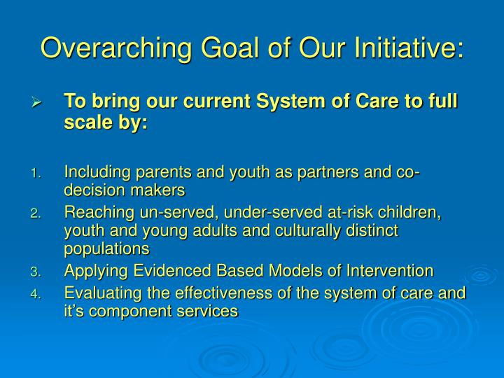 Overarching Goal of Our Initiative: