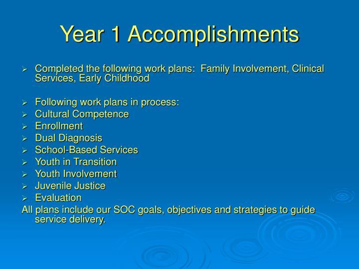 Year 1 Accomplishments