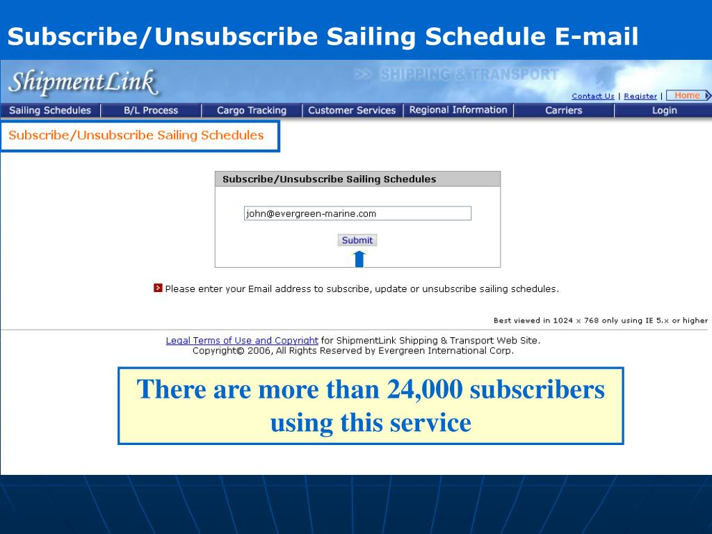 Subscribe/Unsubscribe Sailing Schedule E-mail