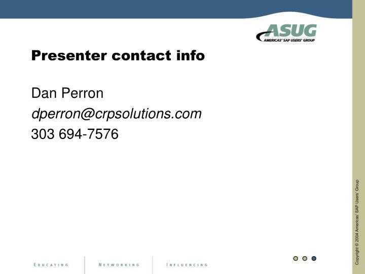Presenter contact info
