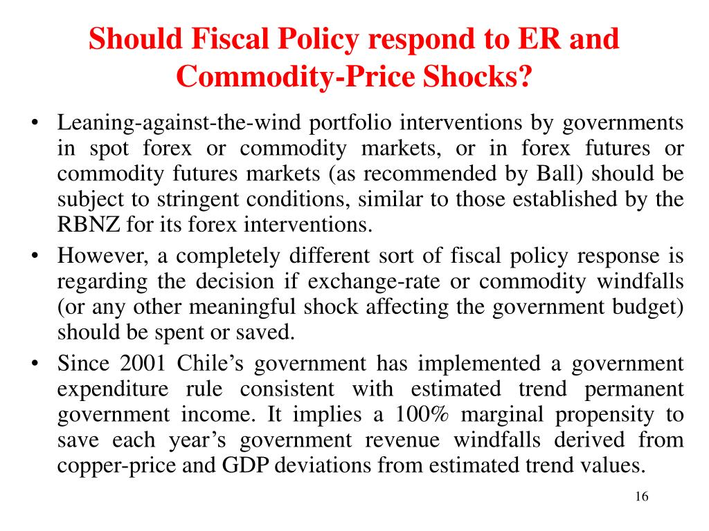 Should Fiscal Policy respond to ER and Commodity-Price Shocks?