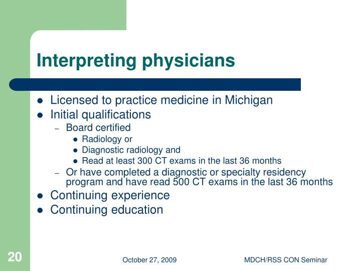 Interpreting physicians