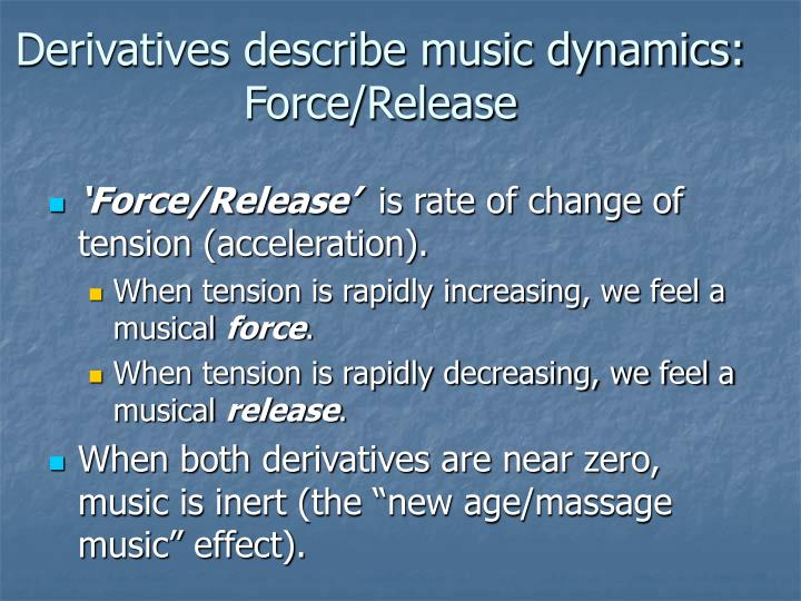 Derivatives describe music dynamics: Force/Release