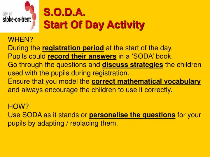S o d a start of day activity2